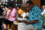 Morning prayer with group from Indonesia & Malaysia
