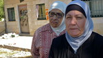In the foreground is Mariam Ghawi. Behind her is Nadia Al-Kurd, sister to the Palestinian owner of the property, Nabil Al-Kurd.