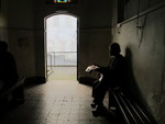 Old homeless man waits the beginning of thw weekly prayer at Lutheran congregation in São Paulo